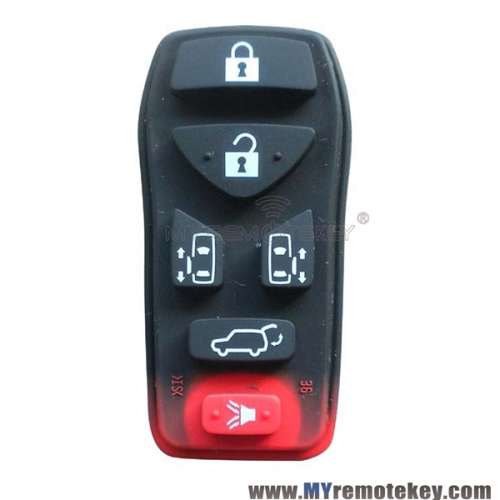 Remote rubber button pad for Nissan remote fob 6 button