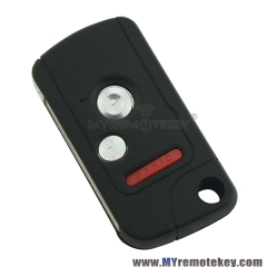 Refit flip remote key case shell for Honda 2 button with panic