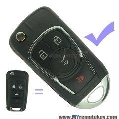 Refit flip remote car key case shell for Buick 4 button