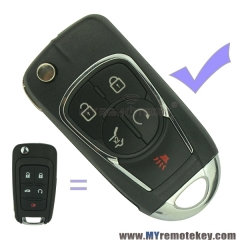 Refit flip remote car key case shell for Buick 5 button