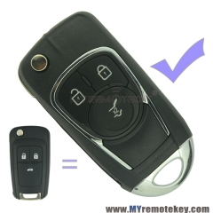 Refit flip remote car key case shell for Buick 3 button