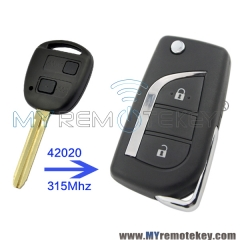 Flip remote car key 2 button for Toyota 315mhz 42020