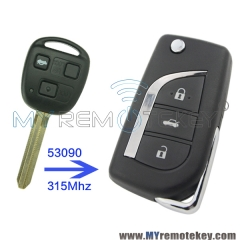 Flip remote car key 3 button for Toyota 53090 315mhz