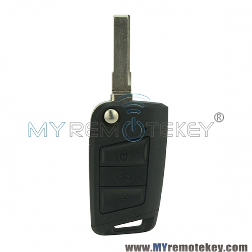 Flip remote key shell case 3 button for VW