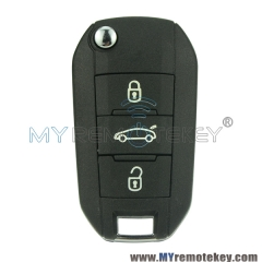 Flip remote car key for Peugeot 508 3 button 433mhz HU83
