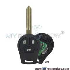 Remote key fob 3 button for 2008 - 2013 Nissan Cube Rogue 433mhz with ID46 chip