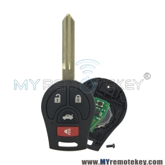 Remote key 3 button with panic for 2008 - 2014 Nissan Cube Rogue Juke Versa 315mhz 434mhz with ID46 chip CWTWB1U751