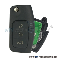 Flip remote car key for Ford B-Max Fiesta Focus Galaxy Kuga S-Max 2008 2009 2010 2011 ID63 chip HU101 433 mhz 3M5T 15K601 AB
