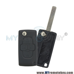 For Peugeot Citroen flip remote key case  4 button HU83