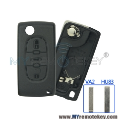 CE0536 Flip remote key shell case for Citroen C2 C3 C4 C5 Peugeot 207 208 307 308 407 408 3 button Trunk VA2 HU83