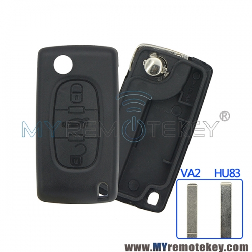 CE0523 Flip remote key shell case for Citroen Peugeot 3 button middle Trunk button