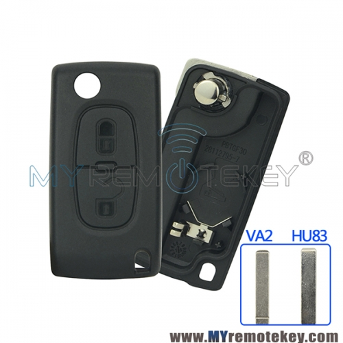 CE0536 Flip remote key shell case for Citroen C2 C3 C4 C5 Peugeot 207 208 307 308 407 408 2 button VA2 HU83