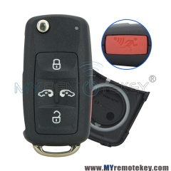 Flip key shell 4 button with panic for VW remote start