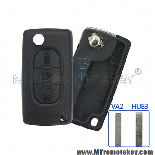 CE0523 Flip remote key shell case for Citroen Peugeot 3 button middle Light button