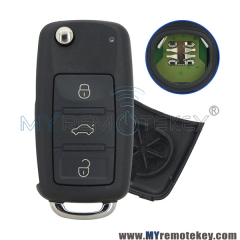 3D0 959 753 AA Flip remote key for VW Touareg 3 button HU66 434mhz 3D0959753AA
