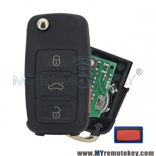 Remote key 1J0959753T 3 button with panic HU66 315mhz for VW Golf flip car key