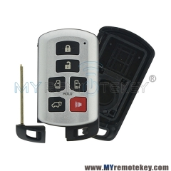 Smart car key shell case 6 button 89904-08010 HYQ14ADR for Toyota Sienna 2011-2017