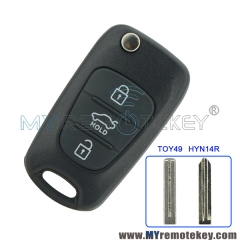 Flip remote key shell case 3 button TOY49 HYN14R for Hyundai I20