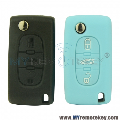 Silicone key Case shell 3 button for Citroen remote key C2 C3 C4 C5