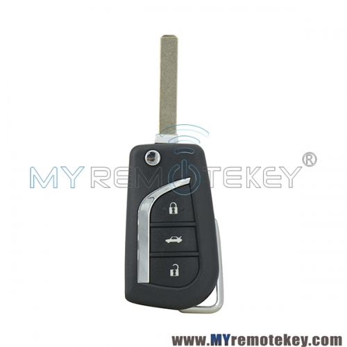 Flip remote key shell case 3 button VA2 for Toyota
