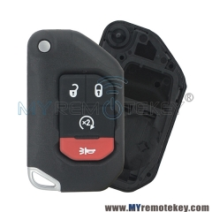 OHT1130261 Flip remote key case shell 3 button with panic for 2018 2019 Jeep Wrangler