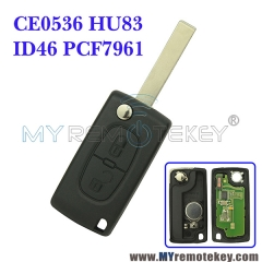 CE0536 Flip remote key for Citroen Peugeot 2 button 433mhz HU83 PCF7961 ASK FSK electronic circuit board