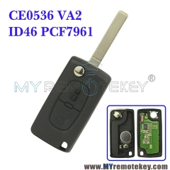 CE0536 Flip remote key for Citroen Peugeot 2 button 433mhz VA2 PCF7961 ASK FSK electronic circuit board