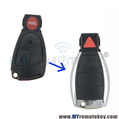 New Refit smart key shell case 3 button with panic for for Mercedes Benz C320 C350 CL500 CLK500 E320 E350 G500 ML500 S350 SLK350 2000-2006