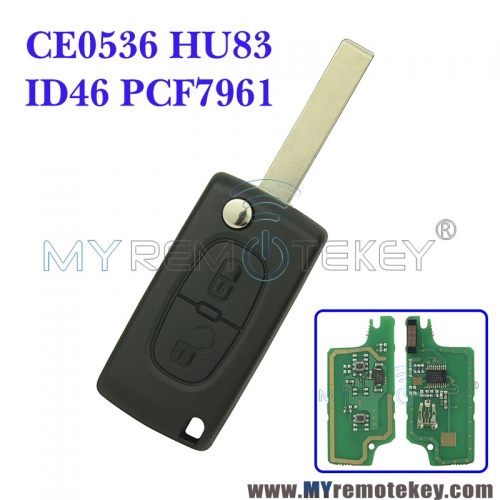 CE0536 Flip remote key for Citroen Peugeot 2 button 433mhz HU83 PCF7961 ASK electronic circuit board