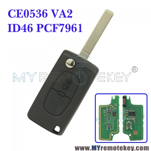 CE0536 Flip remote key for Citroen Peugeot 2 button 433mhz VA2 PCF7961 ASK electronic circuit board