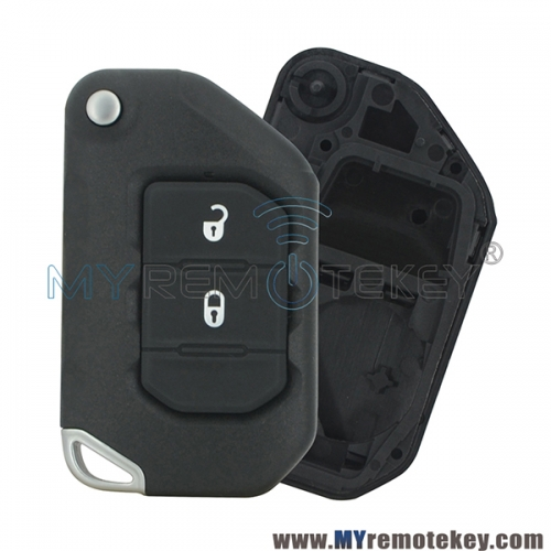 Flip remote key shell 2 button  for 2018 - 2019 Jeep Wrangler