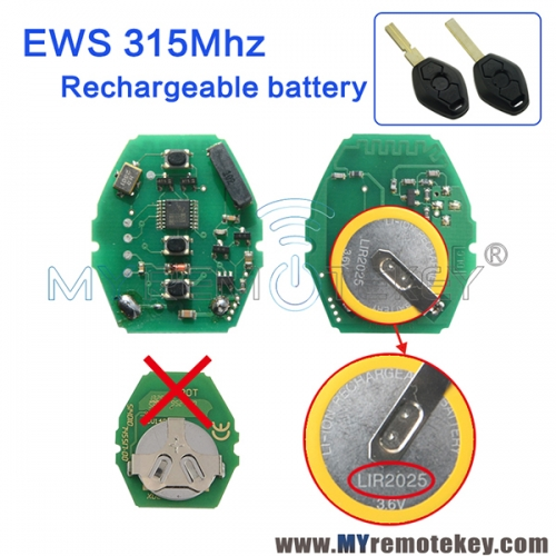 EWS system circuit board rechargeable battery 315Mhz 3 button for BMW  car key