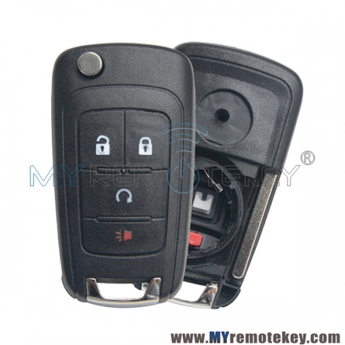 Flip remote car key shell case for Buick Holden Opel 4 button